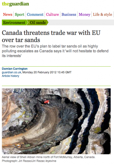 Canada threatens trade war with EU over tar sands